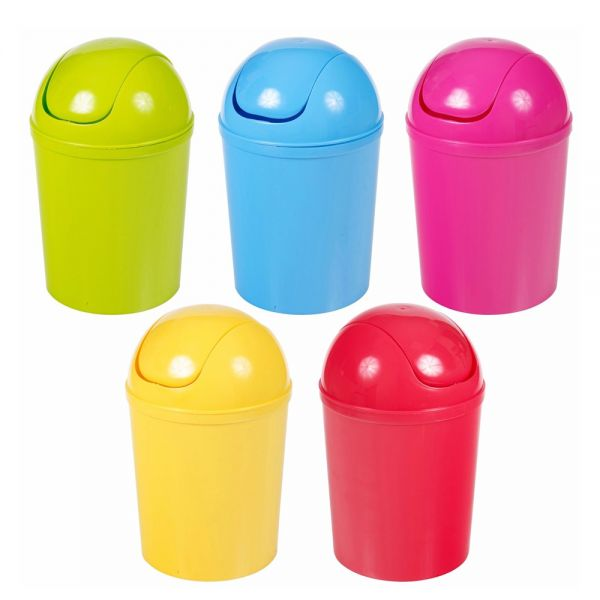 Swing Operated 5 Liter Plastic Waste Bin - 5 Colours