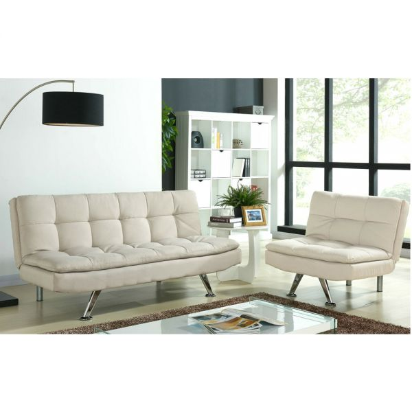 3 Seater Modern  Fabric Sofa Bed and Chair Suite - Cream