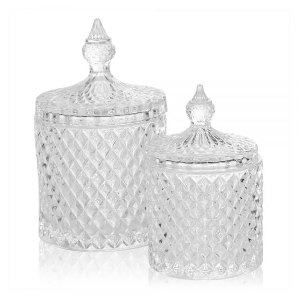 Decorative Stylish Glass Alpina Candy Jar - 2 Sizes