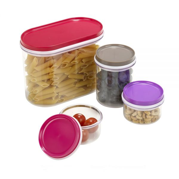 Elegant Plastic Lids Food Container Boxes - 4Pcs