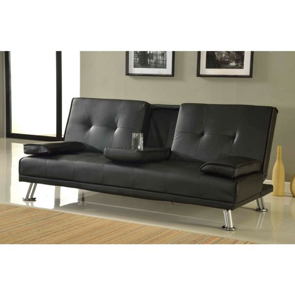 Faux Leather 3 Seater Cupholder Sofa Bed - 2 Colours