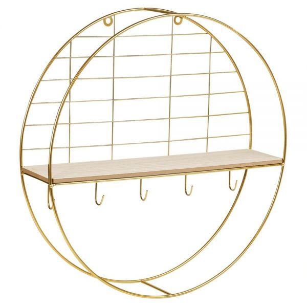 Round Metal Wall Shelf - Golden