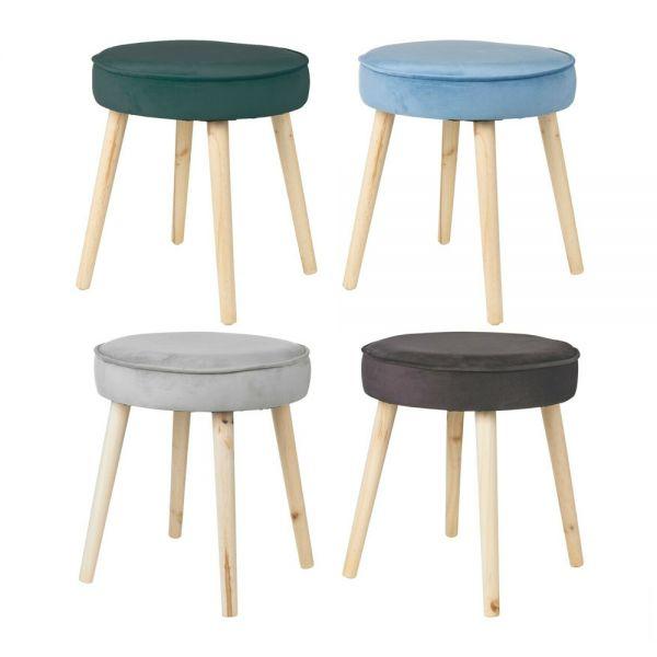 Elegant Upholstered Round  Velvet Cushioned Wooden stool - 4 Colours