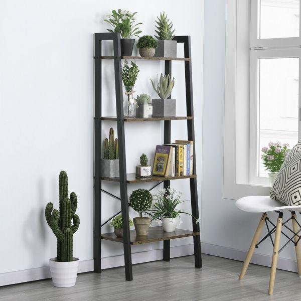 Elegant Ladder Bookcase 4-Tier Shelves - Light Brown