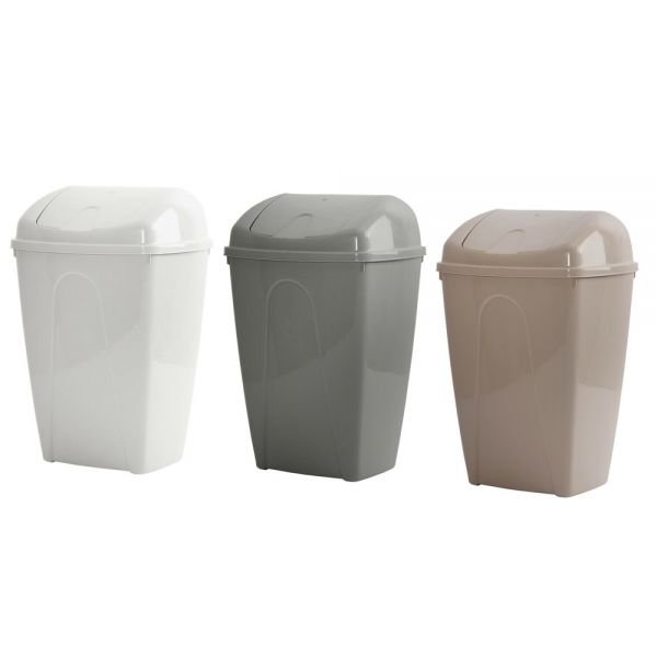 Plastic Bullet Swing Lid 10L Dustbin - 3 Colours