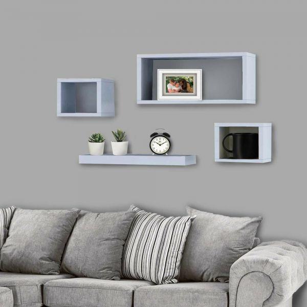 Elegant Wall Mounted Wooden Floating Cube 4PCS Shelf - 4 Colours