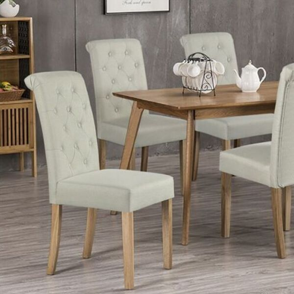 Stylish Fabric Upholstered Dining Chair 2pcs - Beige