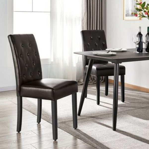 Faux Leather Dining Chairs Wooden Legs 2PCS - Brown