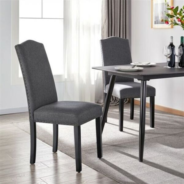 Elegant Fabric Soft Padded Dining Chairs 2PCS - Dark Grey
