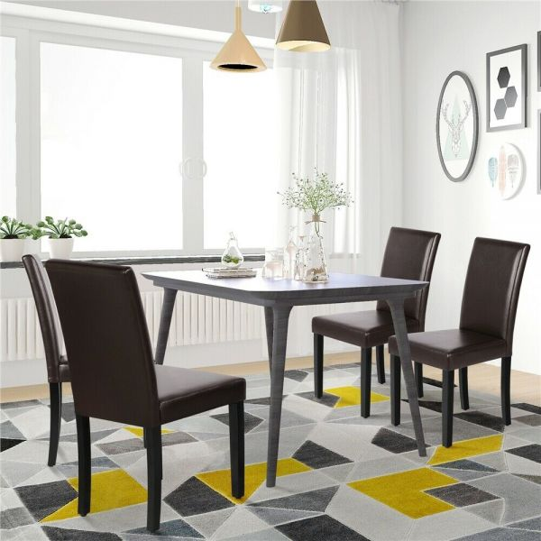 Modern PU Leather Dining Room Chairs 4pcs - 2 Colours