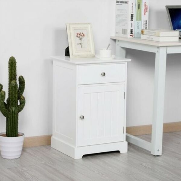 Stylish Nightstand Bedside Tables - White
