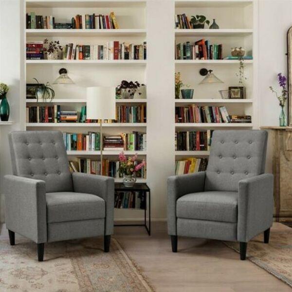 Modern Fabric Reclining Arm Chair - Grey