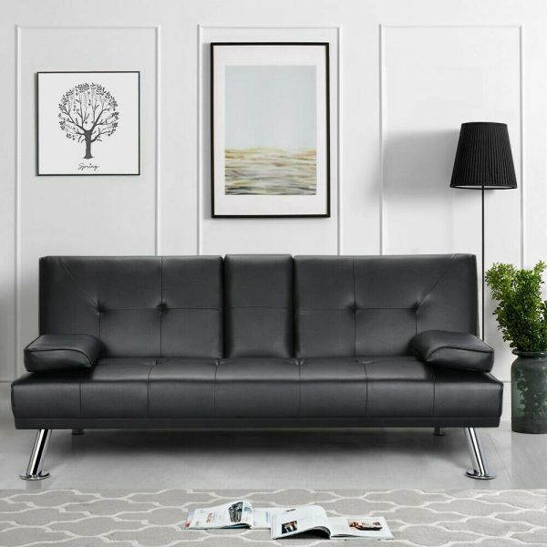 Faux Leather 3 Seater Recliner Cup Holder Sofa Bed - Black