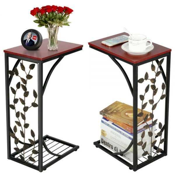 Modern C Shaped Coffee Table 2pcs - Leaf Pattern
