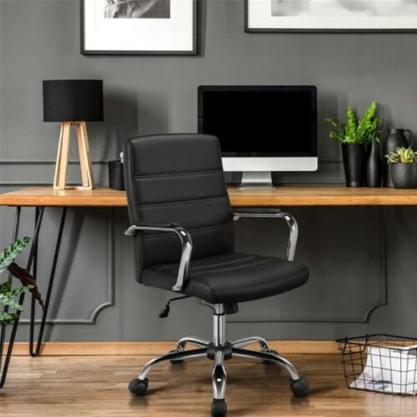 Executive PU Leather Swivel Office Chair - Black