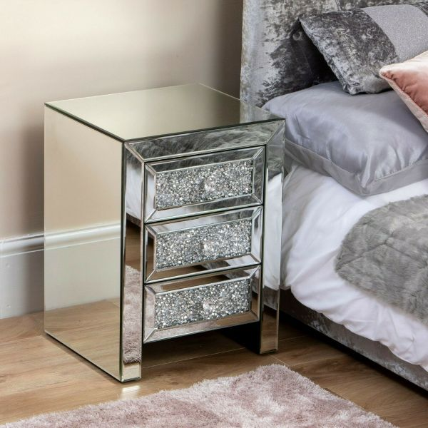 3 Drawer Bedside Table Crushed Diamond Mirror - Silver
