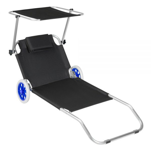 Portable Aluminium Sun Lounger Recliner With Wheels - Black Colour