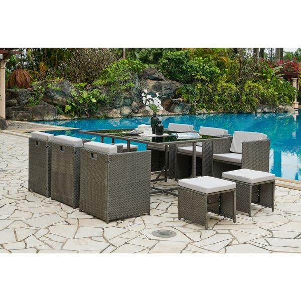 Rattan Garden Table Chair Set 11 Pieces - 3 Colours