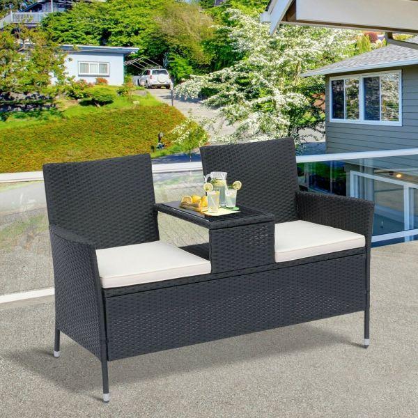 Rattan Wicker Companion Patio Chair - Black