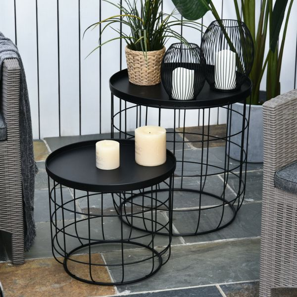 Elegant Webbed Frame Nest Of Table - Black