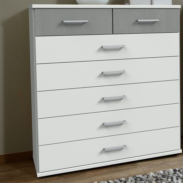 Cadiz 5+2 Chest of Drawer - White And Grey