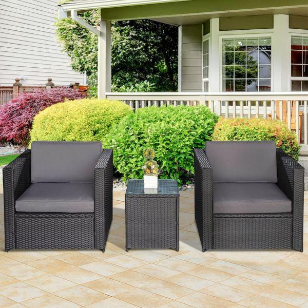 Rattan Bistro Chair Table Set 3PC - Grey