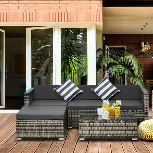 Rattan Wicker Corner 5PC  Sofa Set - Grey
