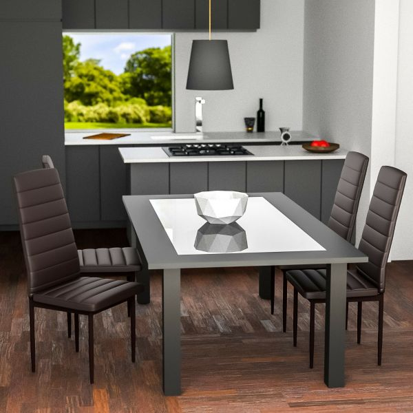 Modern Synthetic Leather Dining Chairs Brown Colour - Set of 6