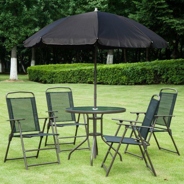 Elegant Garden Foldable Parasol Chairs Table Set - Black