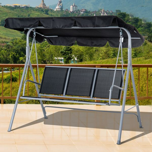 Elegant 3 Seater Metal Swing Chair With Canopy - Black