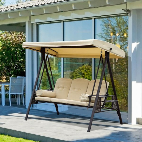 3 Seater Metal Swing Chair With Canopy - Beige