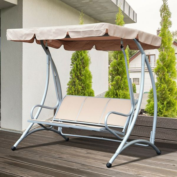 Stylish 3 Seater Metal Hammock With Canopy - Beige