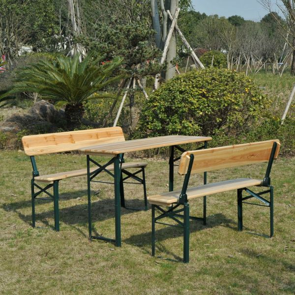 3PC Garden Wooden Bench Set
