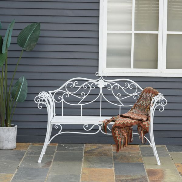 Metal Deck Garden Bench - White