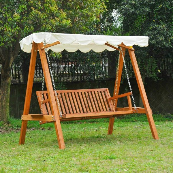 3 Seater Wooden Swing Chair With Canopy