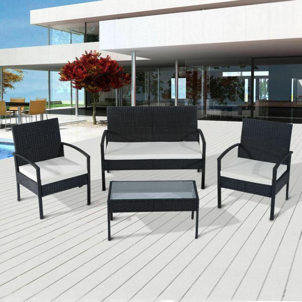 Rattan Garden Wicker Weave Chair Table Set