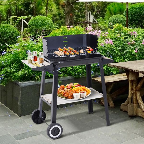 Heating Smoker Charcoal Barbecue Grill Trolley