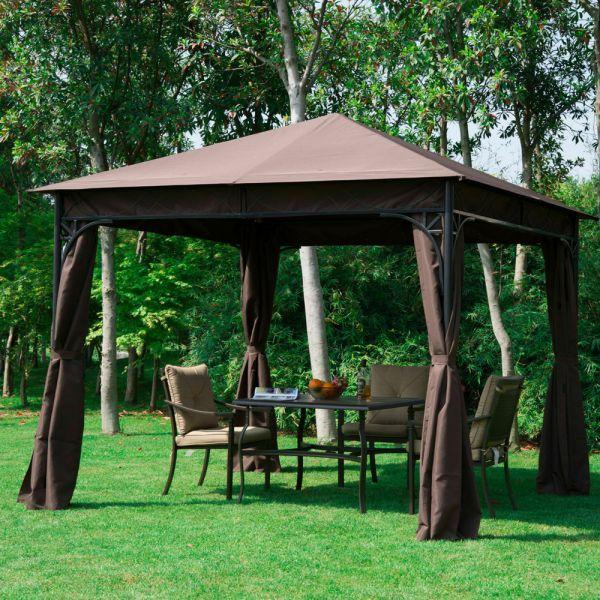 Metal Shelter Pavilion Gazebo - Coffee