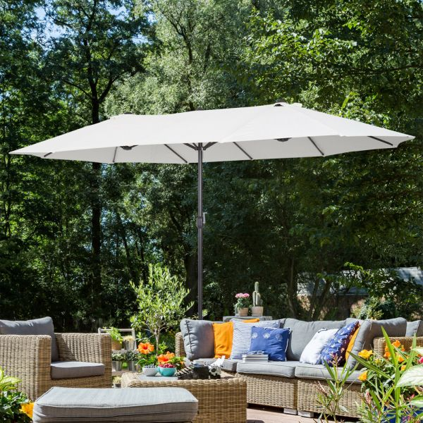Double-Sided Sun Shelter Garden Parasol - Beige