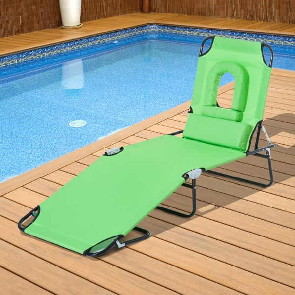 Foldable oxford Sun Lounger Recliner - Green
