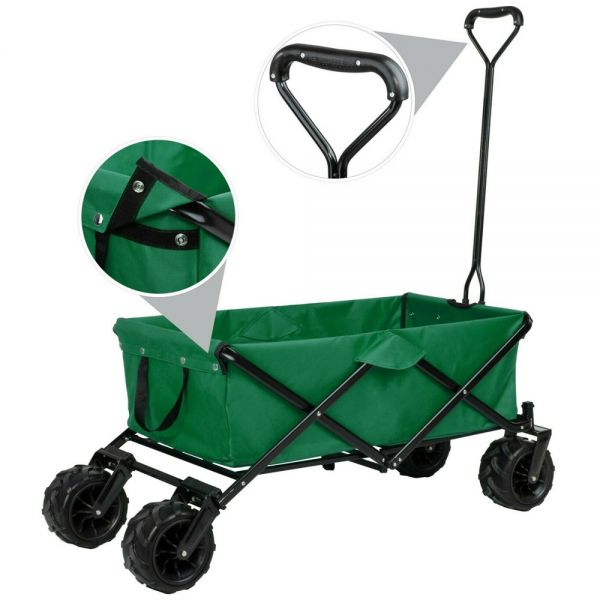 Garden Foldable Pull Along Trailer - Green Colour