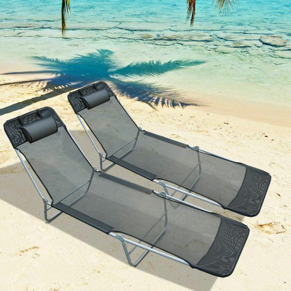 Folding Chaise Sun Lounger 2PC - Black