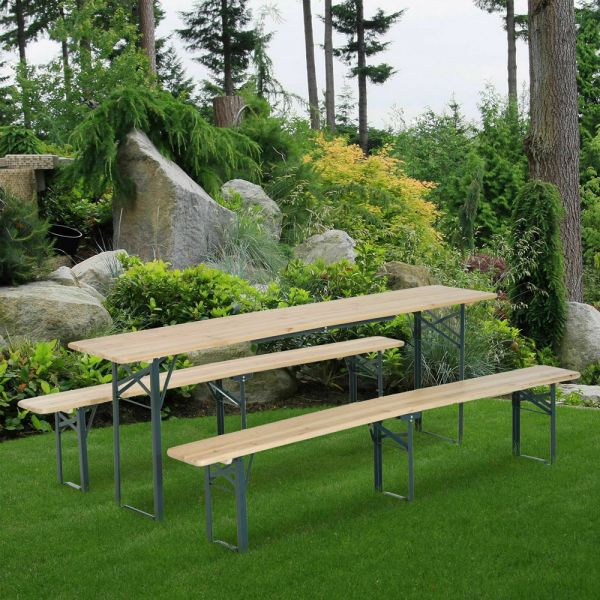 Foldable Wooden Heavy Duty Garden Bench Set