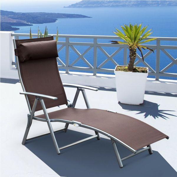 7 Levels Textilene Foldable Sun Lounger - Brown