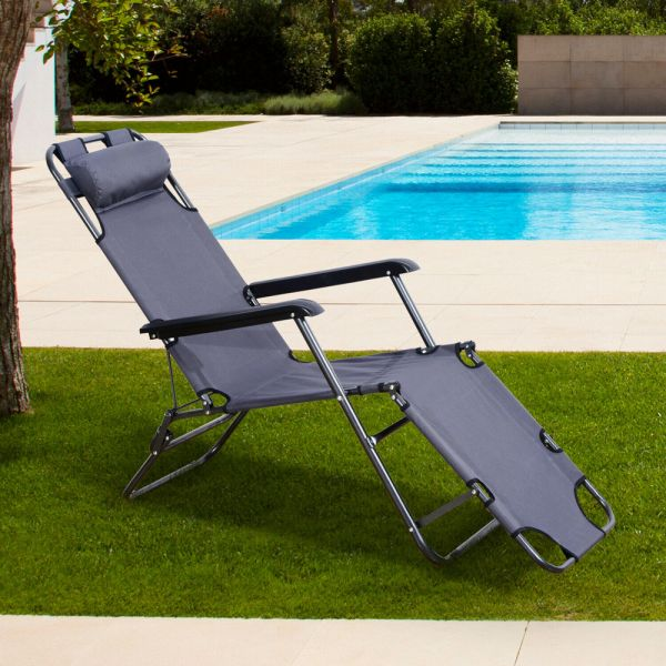 2 in 1 Foldable Sun Lounger Recliner Chair - Grey