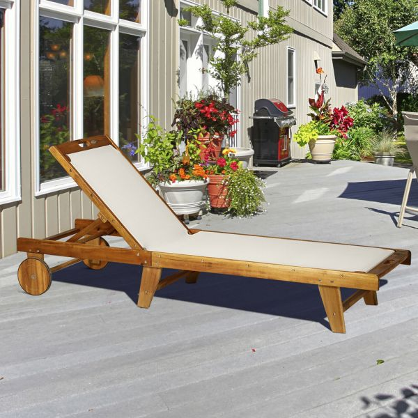 Texteline Chaise Sun Lounger Bed With Wheels - Acacia Wood