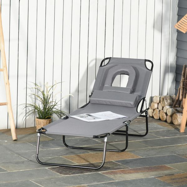 Foldable Sun Lounger Reclining With Pillow - Grey