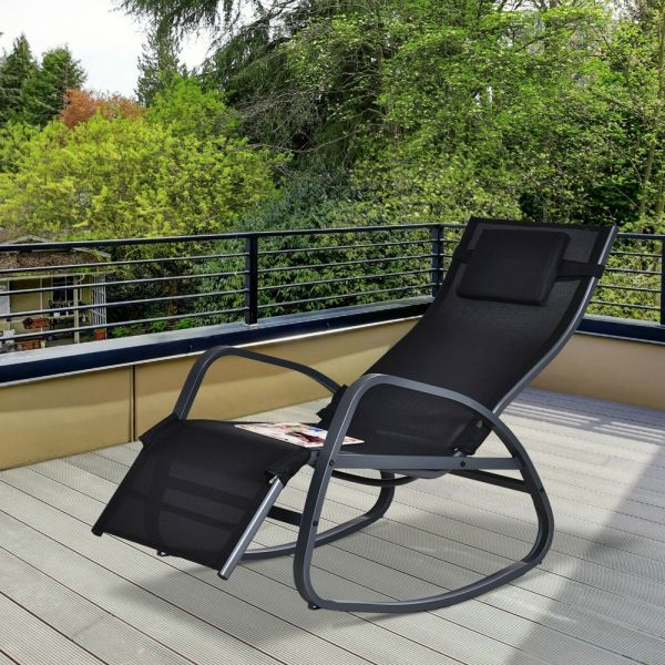 Rocking Recliner Sun Lounger - Black
