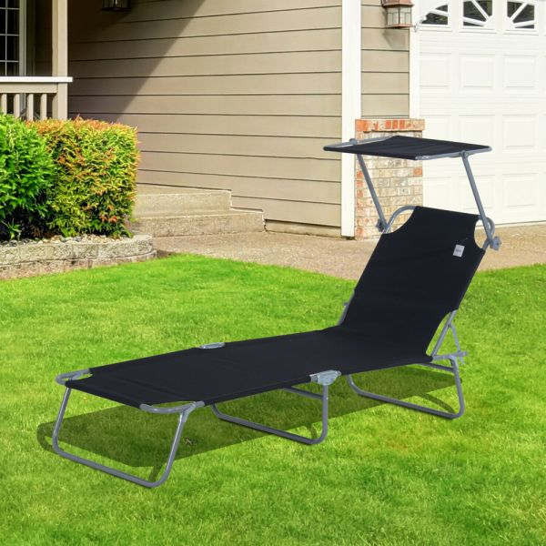 Foldable Sun Lounger With Canopy - Black