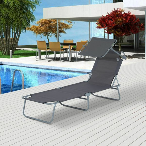 Foldable Recliner Sun Lounger With Sunshade - Grey